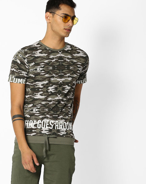 Printed T-shirt With Tie-Up By DNMX ( Olive )