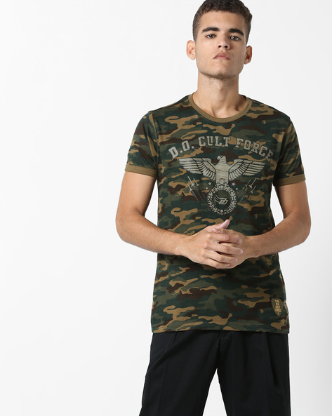 Camouflage Print Cotton T-shirt By DIFFERENCE OF OPINION ( Khaki )