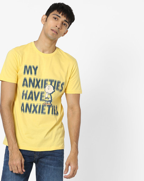 Typographic Print Crew-Neck T-shirt By Souled Store ( Yellow )