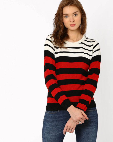Striped Sweater With Ribbed Hems By TEAM SPIRIT ( Red )