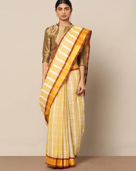 Cotton Striped Saree With Zari Border By Indie Picks ( Yellow )