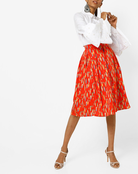 Printed Box Pleat Skirt By AMARE ( Orange )