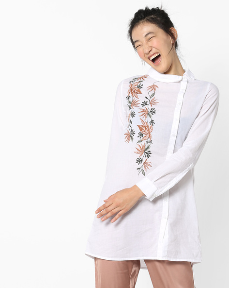 Longline Embroidered Shirt With Asymmetrical Placket By Rena Love ( White )