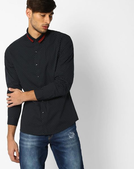 Regular Fit Dot Print Shirt By NETPLAY ( Navy )