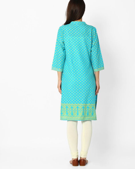Printed Kurta With Mandarin Collar By Jiyaa ( Blue ) - 460034693001