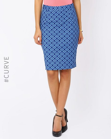 Printed Pencil Skirt By AJIO ( Navyblue )