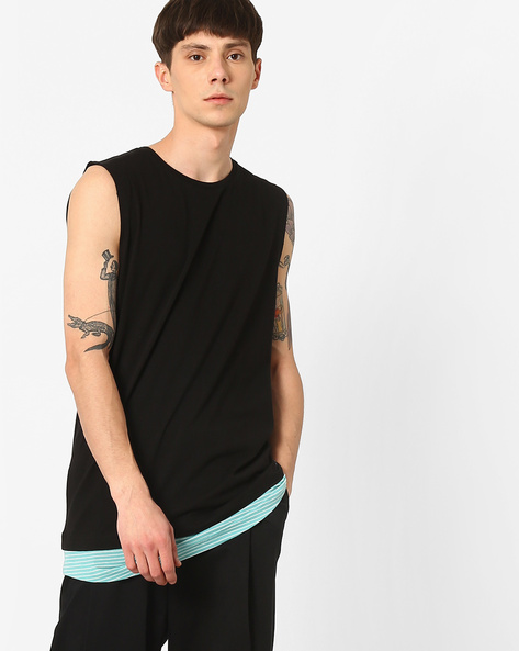 Longline Tank T-shirt With Printed Panel By KULTPRIT ( Black )