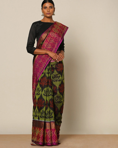 Handloom Ikat Pure Silk Cotton Saree By Rudrakaashe-MSU ( Olive )