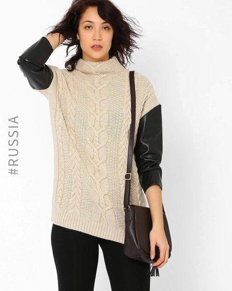 High-Neck Pullover By Kira Plastinina ( Beige )