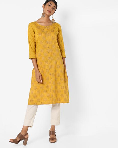 Printed Straight Kurta With Pockets By AJIO ( Yellow )