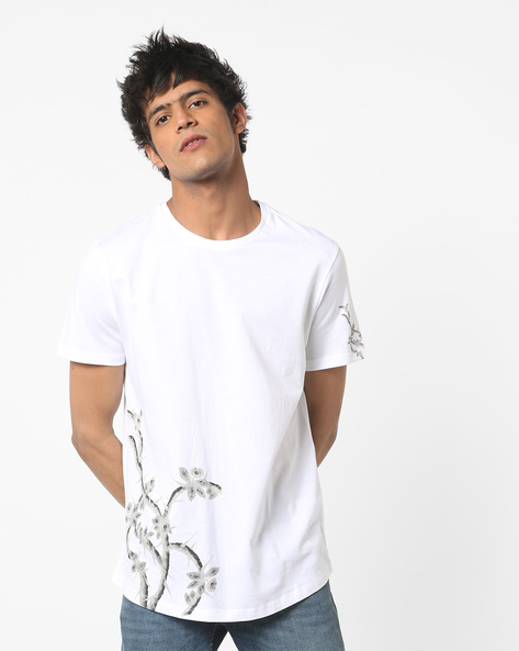 Crew-Neck T-shirt With Placement Print By AJIO ( White )