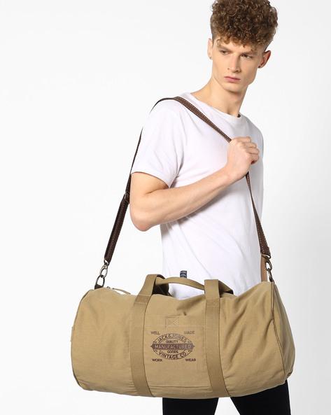 Genuine Leather Duffle Bag By Jack & Jones ( Grey )