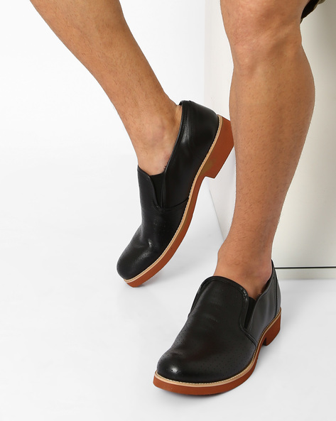 Perforated Leather N9-Treated Slip-Ons By AJIO ( Black )