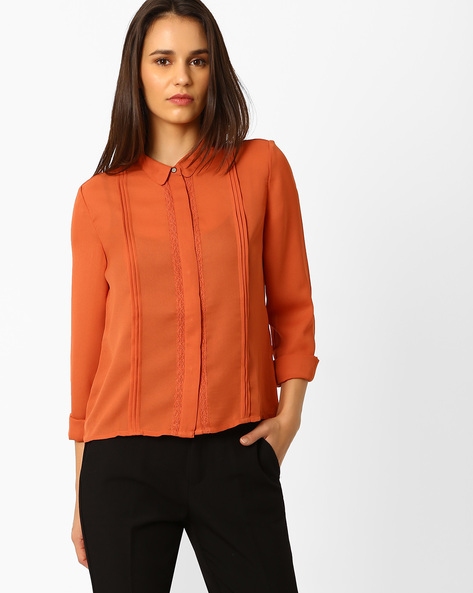 High-Low Shirt With Pintucks By Wills Lifestyle ( Orange )