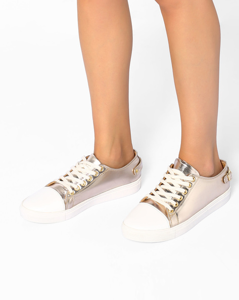 Metallic Lace-Up Casual Shoes By AJIO ( Copper )