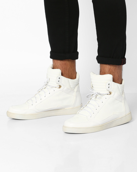 High-Top Lace-Up Sneakers By Carlton London ( White )