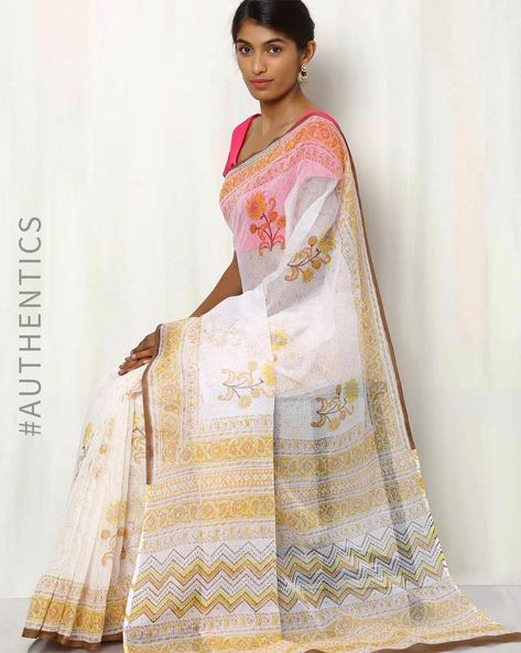 Hand Block Printed Kota Saree By Indie Picks ( Multi ) - 460016465001