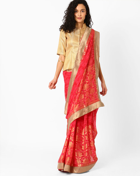 Printed Saree With Woven Design By Pihu ( Red )