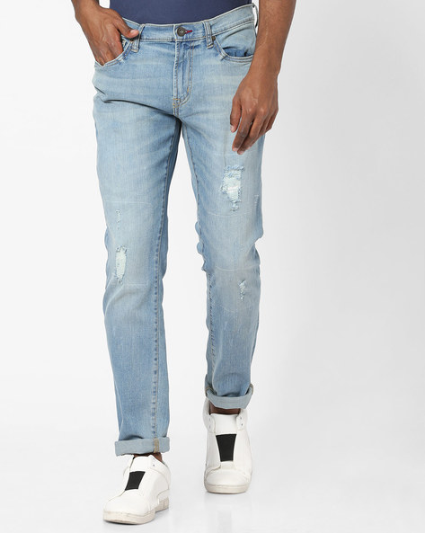 Skinny Fit Distressed Jeans By DNMX ( Ltblue )