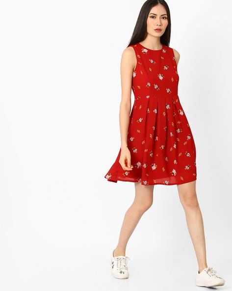 Floral Print Skater Dress By Vero Moda ( Red )