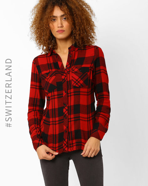 Checked Shirt With Flap Pockets By TALLY WEiJL ( Red )