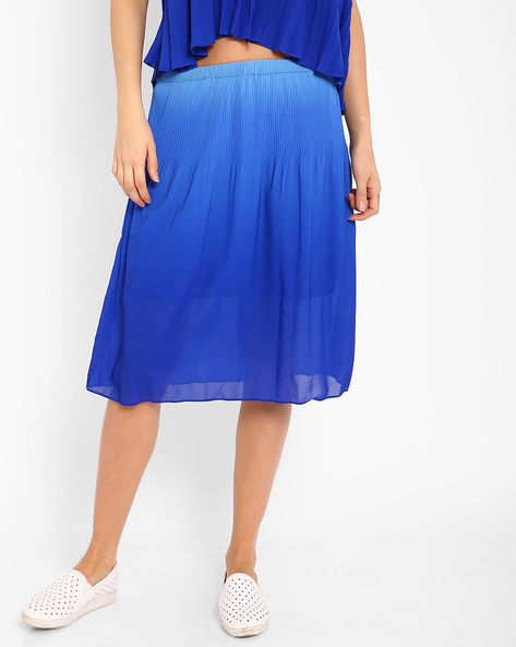 Ombre-Dyed Pleated Skirt By AJIO ( Blue )