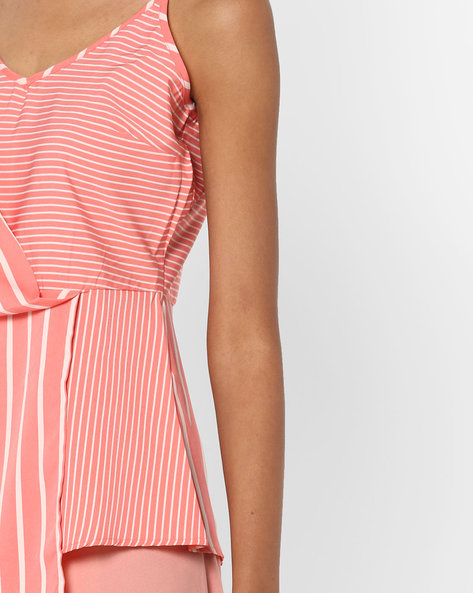 Striped Top With Strappy Sleeves By AJIO ( Coral )