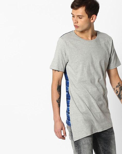 Slim T-shirt With Asymmetric Hem By KULTPRIT ( Grey )