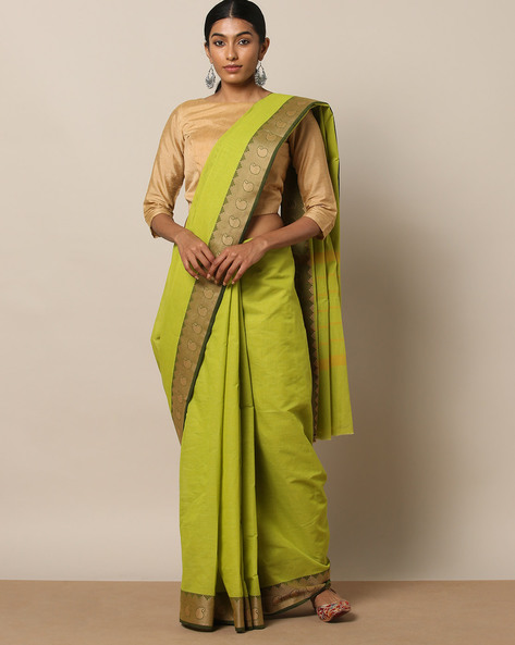 Kanchi Cotton Saree With Woven Border By Indie Picks ( Green ) - 460164739001
