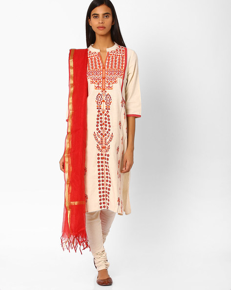Churidar Kurta With Dupatta By AVAASA SET ( Offwhite )