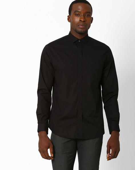 Slim Formal Shirt With Concealed Button Placket By JOHN PLAYERS ( Black )
