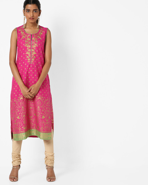 Printed Kurta With Embroidery By Biba ( Pink )