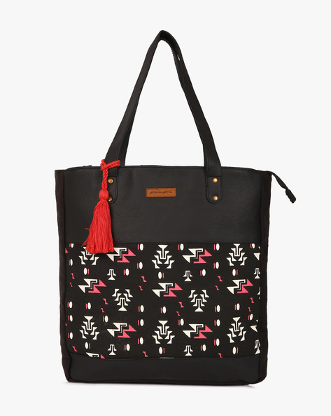 Printed Canvas Tote Bag By Kanvas Katha ( Black )