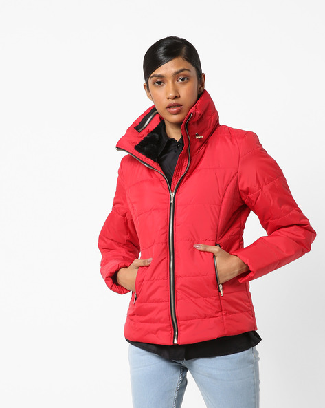 Quilted Parka With Zip Pockets By Only ( Red )