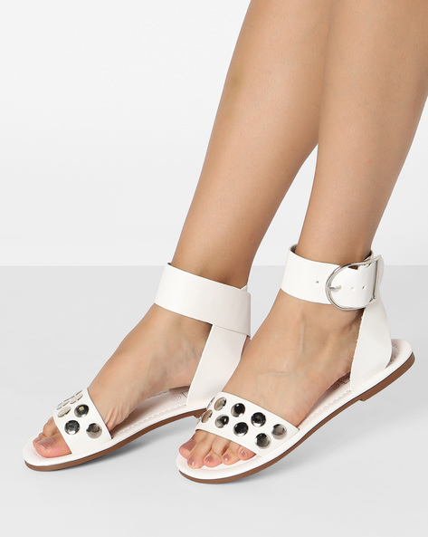 Flat Sandals With Embellishments By Truffle Collection ( White )