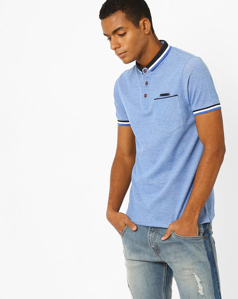 Polo T-shirt With Patch Pocket By Fort Collins ( Sblue )