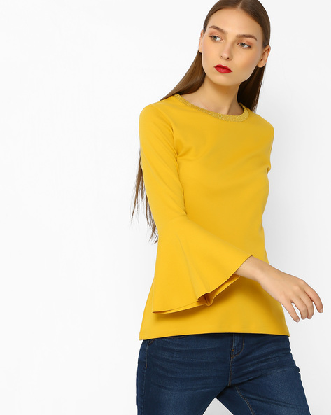 T-shirt With Bell Sleeves By FIG ( Mustard )