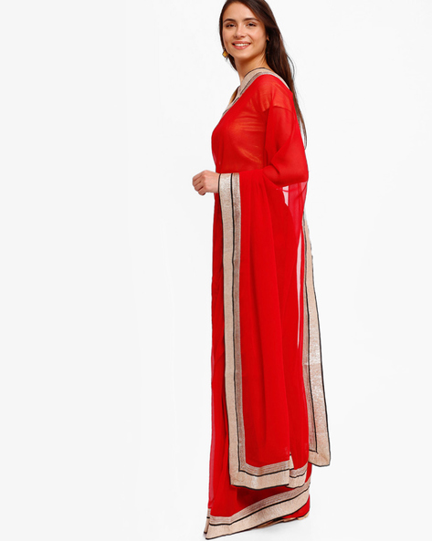 Chiffon Saree With Zari Border By Majestic Silk ( Red )