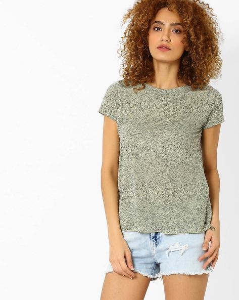 Speckled Crew-Neck T-shirt By Vero Moda ( Yellow )