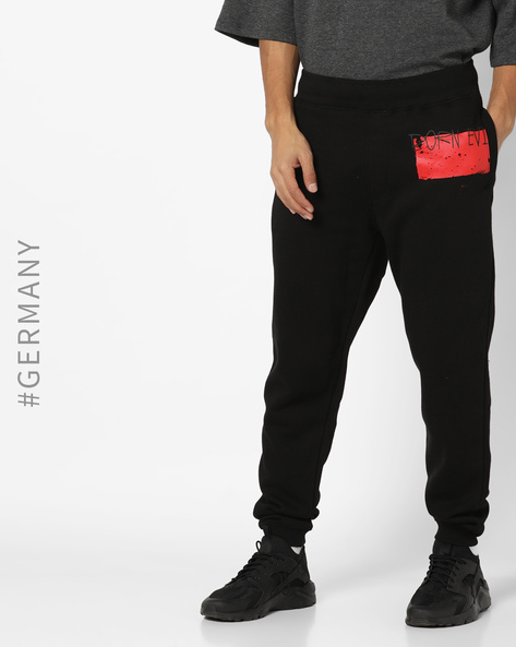 Typographic Print Track Pants With Pockets By Dangerous DNGRS ( Black )
