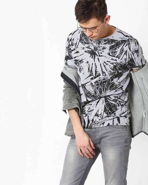 Floral Print Crew-Neck T-shirt By AJIO ( Greymelange )