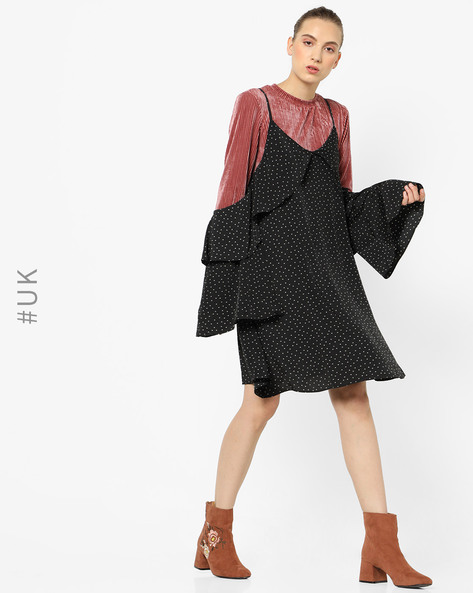 Ditsy Print Dress With Tiered Ruffle Sleeves By NEON ROSE ( Multi )