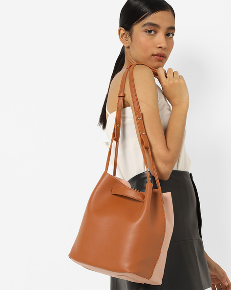 Colourblock Hobo Bag With Pouch By Lino Perros ( Pnktan )