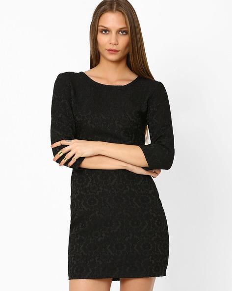 Jacquard Sheath Dress By AJIO ( Black )