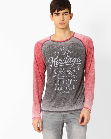 Crew-Neck Slim T-shirt With Washed Effect By DNM X ( Red )