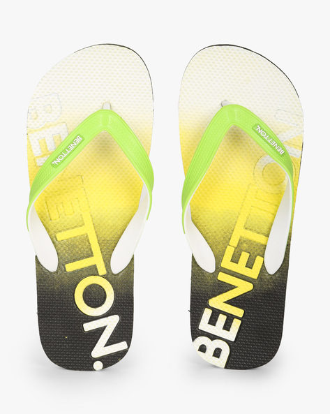 Textured Thong-Strap Flip-Flops By UNITED COLORS OF BENETTON ( Lime )