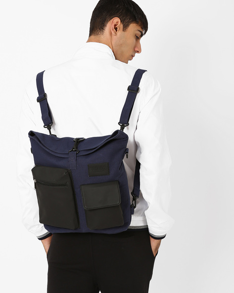 Everyday Backpack With Detachable Handles By FAMOZI ( Navy )