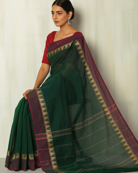 Striped Kanchi Cotton Saree With Woven Temple Border By Indie Picks ( Black )