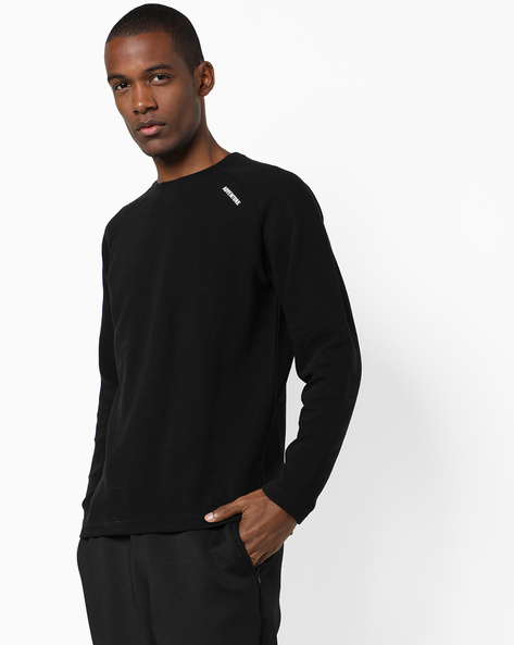 Crew-Neck T-shirt With Raglan Sleeves By DNMX ( Black )