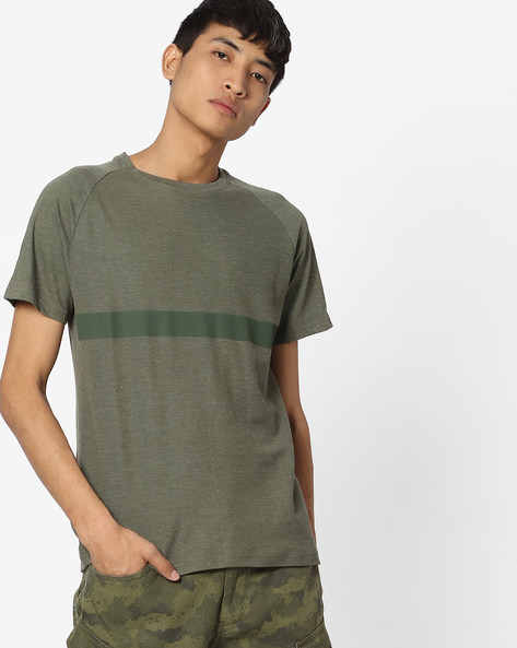 Slim Fit Crew-Neck T-shirt With Raglan Sleeves By Blue Saint ( Lightgreen )
